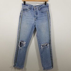 Zara Button Fly Distressed Crop Jeans Size 4